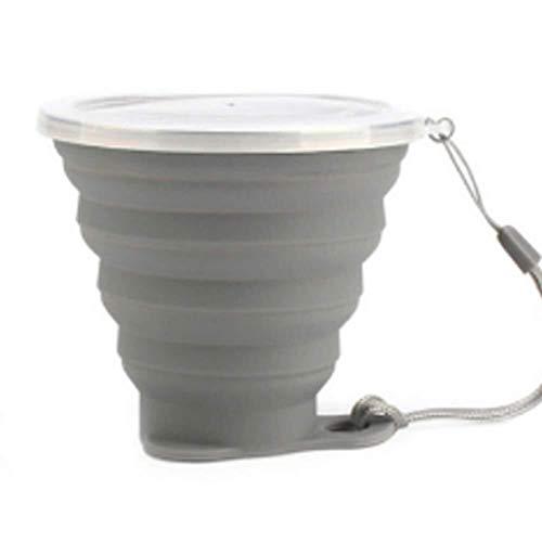 CS-BWP - Tasse de voyage en silicone pliable avec couvercle - Tasses à café télescopiques rétractables - Pour le sport, l'eau - Pour voiture - Couleur : gris foncé - Taille : unique