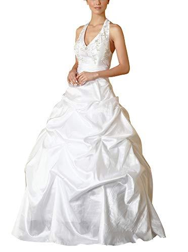 Romantic-Fashion Brautkleid Hochzeitskleid Weiß Modell W051 A-Linie Lang TAFT Neckholder Perlen Pailletten DE Größe 50