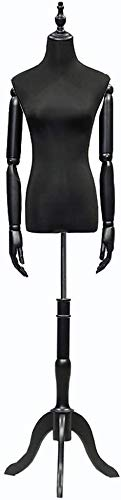 YZJL maniqui costuraManiquí de exhibición Busto Altura Ajustable Brazos maniquí Negro Profesional Torso Cuerpo Sastre maniquímaniquí