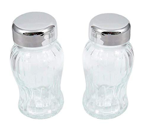 Gald Set mit 2 Ersatzgläsern, Leere Ersatzglasflaschen Gewürzregale, für Gewürze und Kräuter, mit/ohne Siebe, Kappe Satin/Glossy