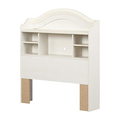 South Shore Summer Breeze Bookcase Headboard with Storage, Full 54', White Wash