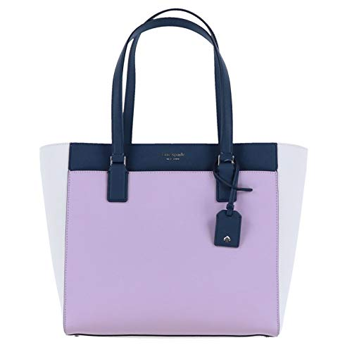 Kate Spade New York Cameron Laptop Tote Purse (Lavender/Bright White/Petrol Blue)