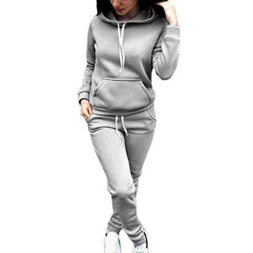 KUYG Traje de deporte para mujer, otoño Plus, cachemira, sudadera de manga larga con capucha y pantalón para deporte