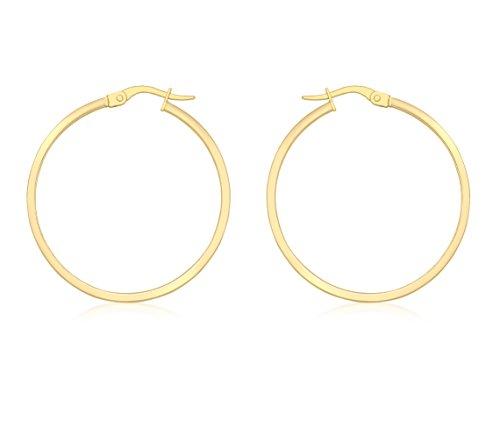 Carissima Gold Vrouwen 18 ct Geel Goud Rechthoekige Buis Creool Hoop Oorbellen, 30 mm