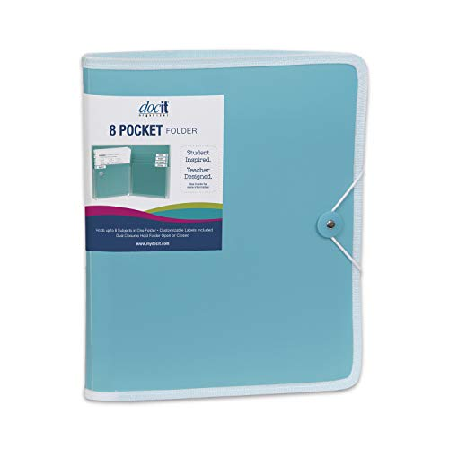 Pasta de bolso DocIt com 8 bolsos, perfeita para escola, escritório e organização de projetos, pasta expansível comporta 200 papéis tamanho carta, azul (00908-BL)