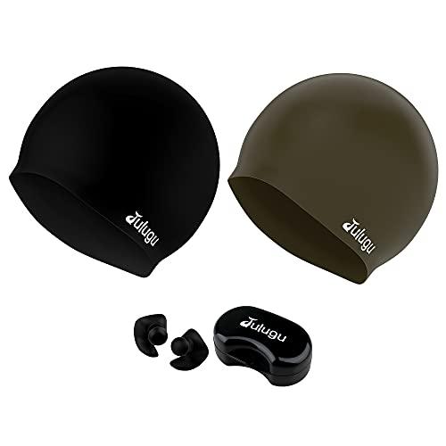 julugu Badekappe Silicone Schwimmhaube, 3D Ergonomisches Design Silikon Badekappe für Männer Frauen Lange Haare mit Ohrstöpsel-2 Stück (Schwarz Goldbraun)