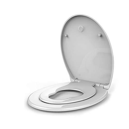 LOHOX Ronde familie toiletbril Rustig sluitend met ingebouwde kindertrainingsstoel met soft-close Quick Release scharnieren Antibacterieel plastic voor kinderen en volwassen wit