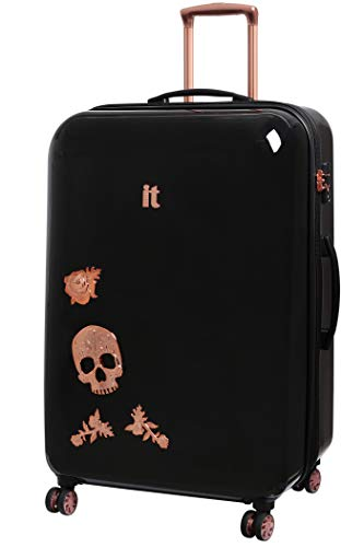 IT Luggage Candy Skull 76cm Expandable Hardshell Four Dual Wheel Spinner Suitcase Black