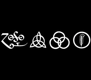 All 4 Led Zeppelin Runes Decal vinyl window sticker car truck jdm rock music, Die cut vinyl decal for windows, cars, trucks, tool boxes, laptops, MacBook - virtually any hard, smooth surface