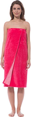 Morgenstern Saunakilt Damen Saunatuch pink 90 cm lang Saunahandtuch zum Knöpfen mit Gummizug Frauen Baumwolle Microfaser Viskose