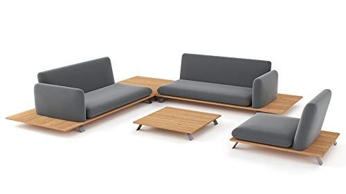 ARTELIA Ethna Sitzgruppe Lounge Esstisch-Set - Premium Gartenmöbel Set für Garten, Wintergarten und Balkon, Balkonmöbel, Terrassenmöbel Natur Holzoptik