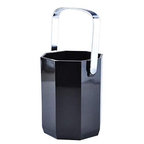 ZUQIEE Cubos de Hielo, Cubos de Hielo 1 Litro Negro acrílico Octogonal Cubo de Hielo del Cubo de Champán hogar de Materiales plásticos Hotel Barra de utilidades