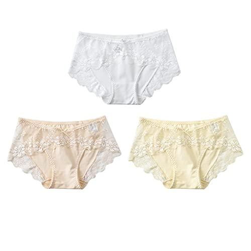 GDSSX Lace 3-Pack Lace Sexy Bragas Calientes Mujeres Ultra-Delgada Adecuado para el Verano Cómodo (Color : Multicolor 1, Size : XL)