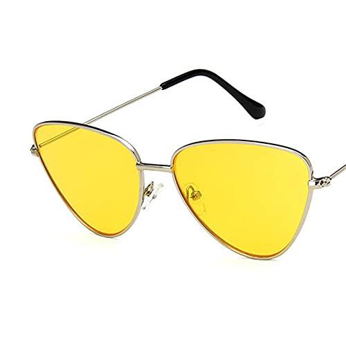 ShSnnwrl Gafas De Moda Gafas De Sol Gafas De Sol con Montura Pequeña De Ojo De Gato De Aleación para Mujer, Gafas De Sol con Lente Oceánica, Montura De M