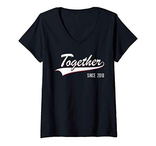 Womens 10th Wedding Anniversary Couple Gift Together since 2010 V-Neck T-Shirt