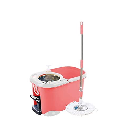 IVQAPP Spinning and Bucket Cleaning Set Pedal Hand Pressure 2 in 1 Adjustable Household Head *2 (Color : Pink) Pink a