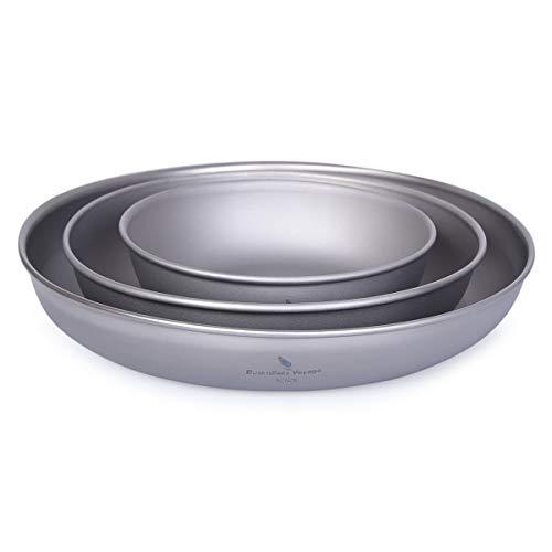 ZYVoyage - Plato de camping de titanio, ultraligero, redondo, para barbacoa, senderismo, picnic, diámetro 11,3 cm, 15 cm, 18,5 cm, A-3P