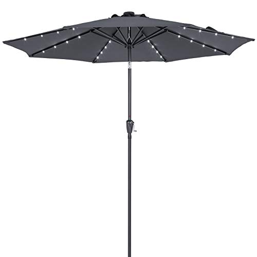 Deuba Sonnenschirm Alu 24 LED Solar Ø 270cm Neigefunktion anthrazit - Kurbelsonnenschirm Gartenschirm Ampelschirm