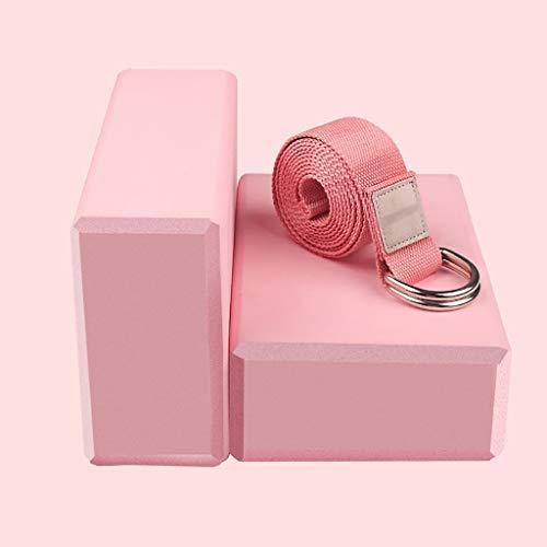 Bloques de espuma para yoga y pilates (2 juegos) Cinturón de yoga con forma de D ligero y antideslizante de alta densidad para yoga, pilates y meditación para mejorar la fuerza, la flexibilidad y el equilibrio., a