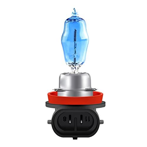 Bombilla halógena súper blanca 2pcs H1 H3 H4 H7 H9 H11 9006 Lámpara de halógena automática luces de niebla 10 0w 12v 6000k Lámpara de faros del coche de la motocicleta (Emitting Color : H8)