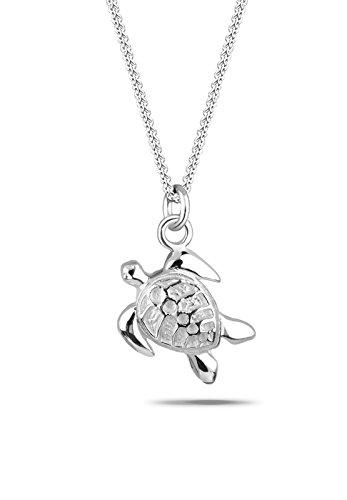 Elli Halskette Damen Panzerkette Schildkröte Anhänger Sun in 925 Sterling Silber