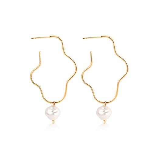 SONGK Pendiente de aro Redondo Grande con Cuentas de Perlas para Mujer, Pendientes de círculo de Perlas simuladas geométricas de Color Dorado, joyería de Boda