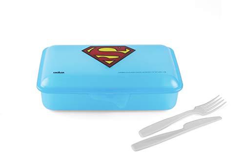 Excelsa Super Héros Superman Boîte déjeuner Lunchbox, Polypropylène, Bleu, cm 22 x 13