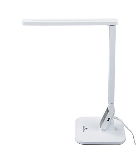 Ambertronix LED Desk Table Lamp, Easy Touch Control Panel, 5 Level Brightness, 4 Color Modes, 14W, Auto Sleep Timer, 5V/1A, USB Charging Port, Philips EnabLED Licensing Program Member (White) -  AT-258-w