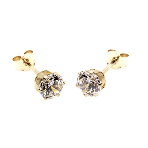 Arranview Jewellery 9ct Gold 3mm CZ Stud Earring. With Small (3mm) Butterfly Backs