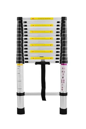 SAILUN® Scala Telescopica Pieghevole a Libretto in Tessuto di Poliestere di Alta Qualità in Alluminio Telescopico di Design Scala Multiuso,15 Pioli -Scala di Livellamento da 94 cm a 4,4m Portata:150KG