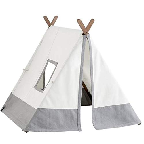 ANQIY Arts Play Tent, Princess Room Child Playground Reading Corner Portable Foldable Indoor Cotton Canvas Boy Children (Color : Gray, Size : 150×120×150cm)