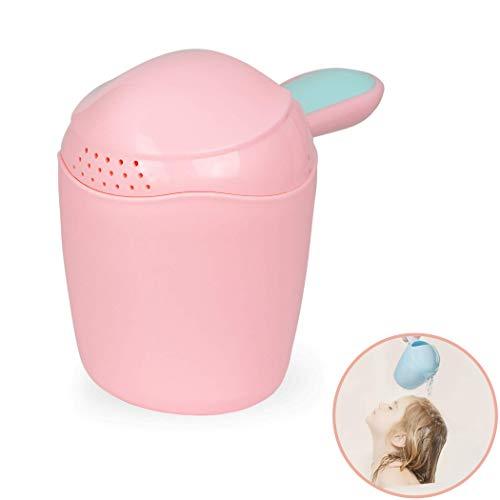 Haarwaschbecher zum tränenfreien Haare waschen, für Babys ab 0 Jahren, feines dosieren der Wassermenge, ABNEHMBARE KAPPE, großes Füllvolumen, sanft am Kopf ansetzbar dar abgerundete Kanten, rosa
