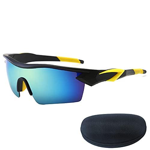 NVJP Gafas de Sol de Ciclismo polarizadas, Marco Negro Helado con templos Amarillos y Lentes Coloridas, 100% de protección UV con Caso Black/Yellow