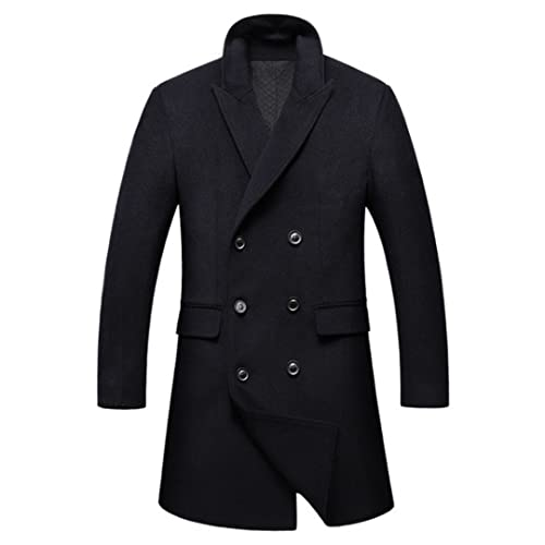 wkd-thvb Abrigo de lana largo de los hombres de invierno mezcla de lana de doble botonadura de la capa de guisante espesar abrigo de lana masculino cortavientos, Negro, L