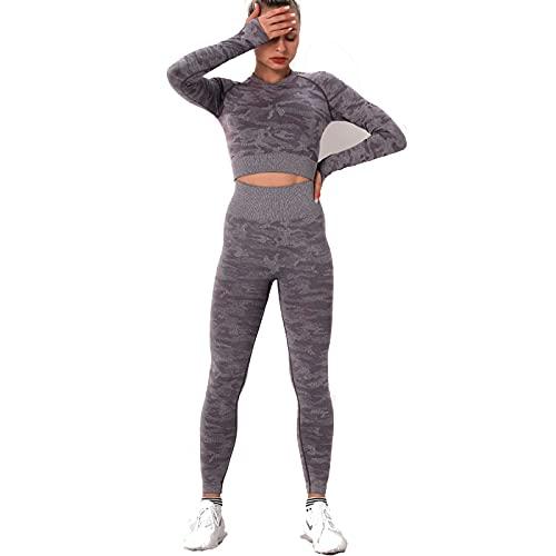 Hanhua Traje de Camuflaje sin Costuras para Mujer, Ejercicio de Yoga Delgado de Dos Piezas de Alto Estiramiento y Fitness