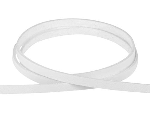 Auroris - weiches flaches Band aus Lederimitat Farbe/Breite/Länge wählbar - Variante: weiß/Breite 5mm / Länge 3m