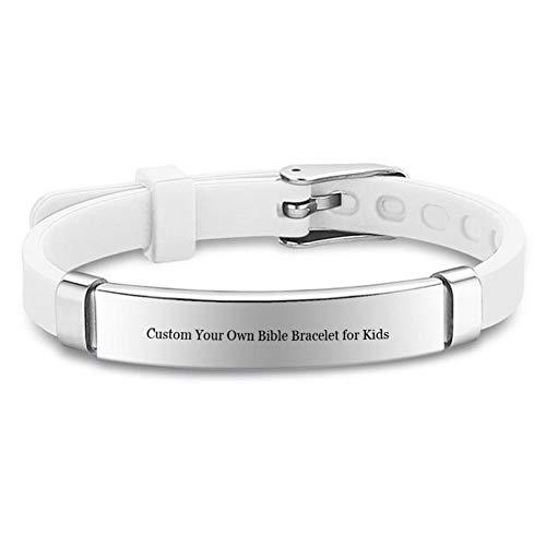 Personalisierte Bibel Vers Armband für Kinder, Edelstahl angepasst Silikon Kreuz Armband Bibel Zitat Inspirierende Manschette Armbänder für Sohn, Tochter, Neffe, Cousin für Taufe Religiöses Geschenk