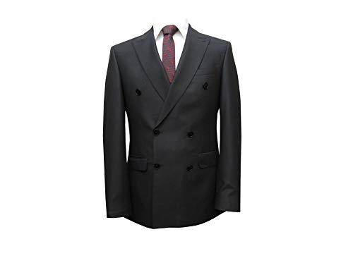 MMUGA Zweireiher Herrenanzug Slim Fit Gentlemen Anzug schwarz 60