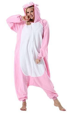 Adultos Animal Pijamas Cosplay Animales de Vestuario Ropa de Dormir Halloween y Carnaval Disfraces Hipopótamo Rosa XL