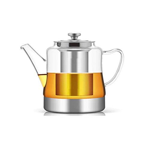 Tetera, hervidor de Agua frío, Filtro de Acero Inoxidable, Resistente al Calor, Resistente a Altas temperaturas, Espesado, Anti-explosión, 4 Tazas, Bandeja Barboo, Utensilios de té en Miniatura