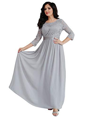 Ever-Pretty Abiti da Sera Donna 3/4 Manich Stile Impero Maxi Linea ad A Pizzo Chiffon Vestito da Damigella Grigio 36