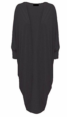 Islander Fashions Damen 3/4 �rmel Batwing Cocoon Cardigan Damen Wasserfall �ffnen Lange Kimono Maxi Schal schwarz 3 X gro�