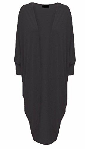 Islander Fashions Damen 3/4 �rmel Batwing Cocoon Cardigan Damen Wasserfall Open Long Kimono Maxi Schal schwarz XX gro�