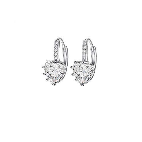 NaisiCore En Forma de corazón Pendientes Zircon Rhinestone cuelga el oído hipoalergénica de Boda Encantador de Las Mujeres del aro de joyería de Plata del Tono