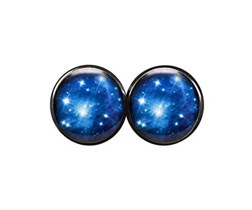 Elf House Pleiades - Pendientes de clúster de estrella, espacio exterior, joyería Galaxy Star Space, pendientes de estrella de nebula, joyería astronómica