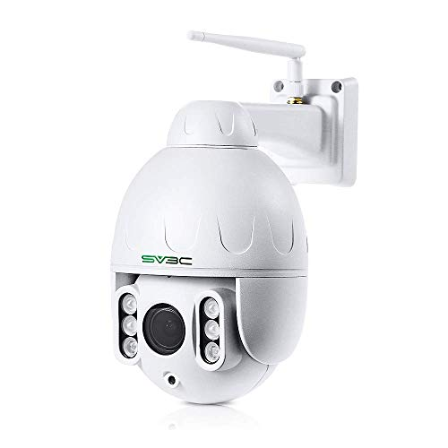 SV3C PTZ WLAN Überwachungskamera Aussen,1080P WiFi Kamera für Außen, 5X Optischer Zoom Outdoor Wasserdichter Sicherheitskamera mit Zwei-Wege-Audio, 60m IR-Nachtsicht,Unterstützung max.128 GB SD-Karte