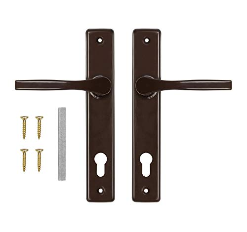 ADGO Juego de manillas de puerta 90 para izquierda y derecha, picaporte de aluminio y acero galvanizado, un mango estrecho para un plato largo pintado (marrón)