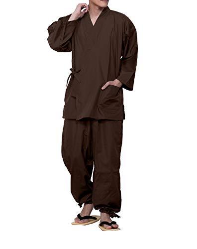 [キョウエツ] 作務衣 さむえ 男性用 メンズ 夏 冬 大きいサイズ さむい男性用 通年 作務 衣 (M, 茶)