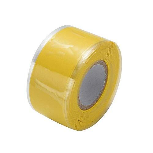 Isolierband, Silikonreparatur-Dichtungsband, wasserdichtes selbstschmelzendes Rohrreparaturband (2,5 cm x 3 m, 1 Stück, gelb)