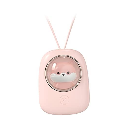 perfk Ventilador de Cuello, Mini Ventilador USB con Banda para El Cuello Recargable, Ventilador Portátil de Enfriamiento de 360 Grados, 3 Velocidades, 120 - Ardilla Rosa
